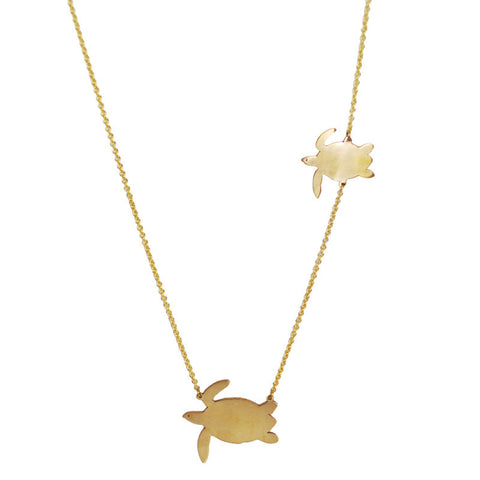 Two Turtle Brass Necklace