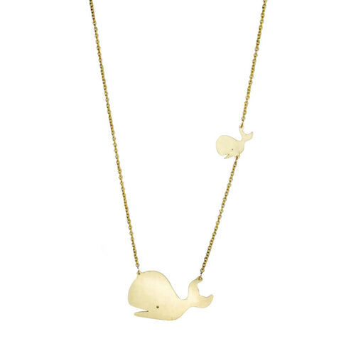 Two Whales Brass Necklace