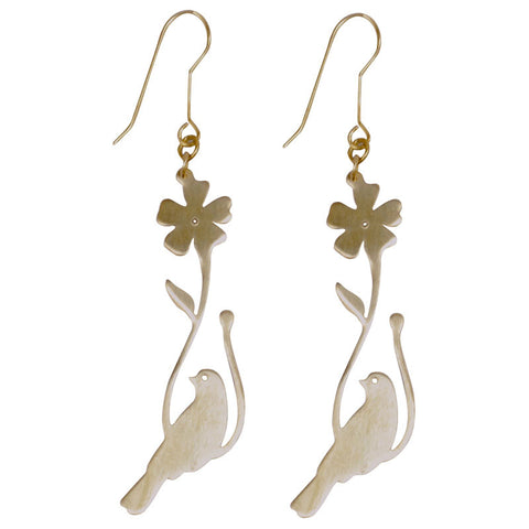 Vining Bird Brass Earrings