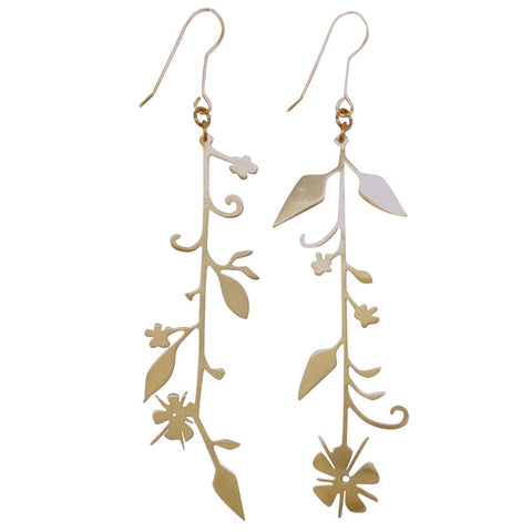 Vining Flower Brass Earrings