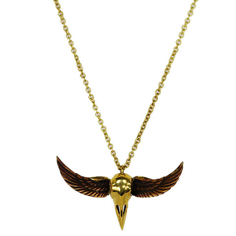Vulture Skull Brass Necklace