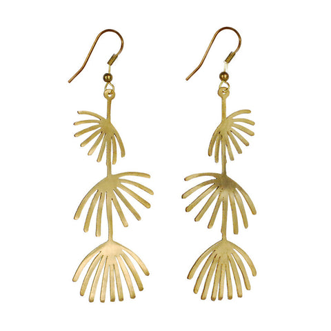 Wish Flower Brass Earrings