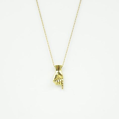 Brass Letter I Sign Language Necklace