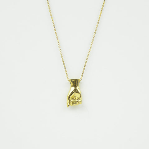 Brass Letter A Sign Language Necklace