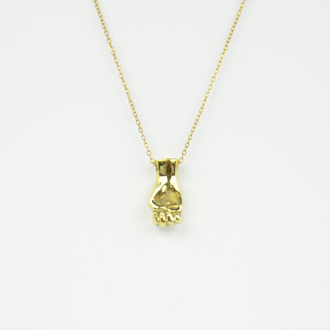Brass Letter E Sign Language Necklace