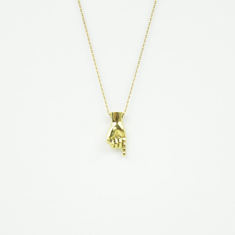 Brass Letter J Sign Language Necklace