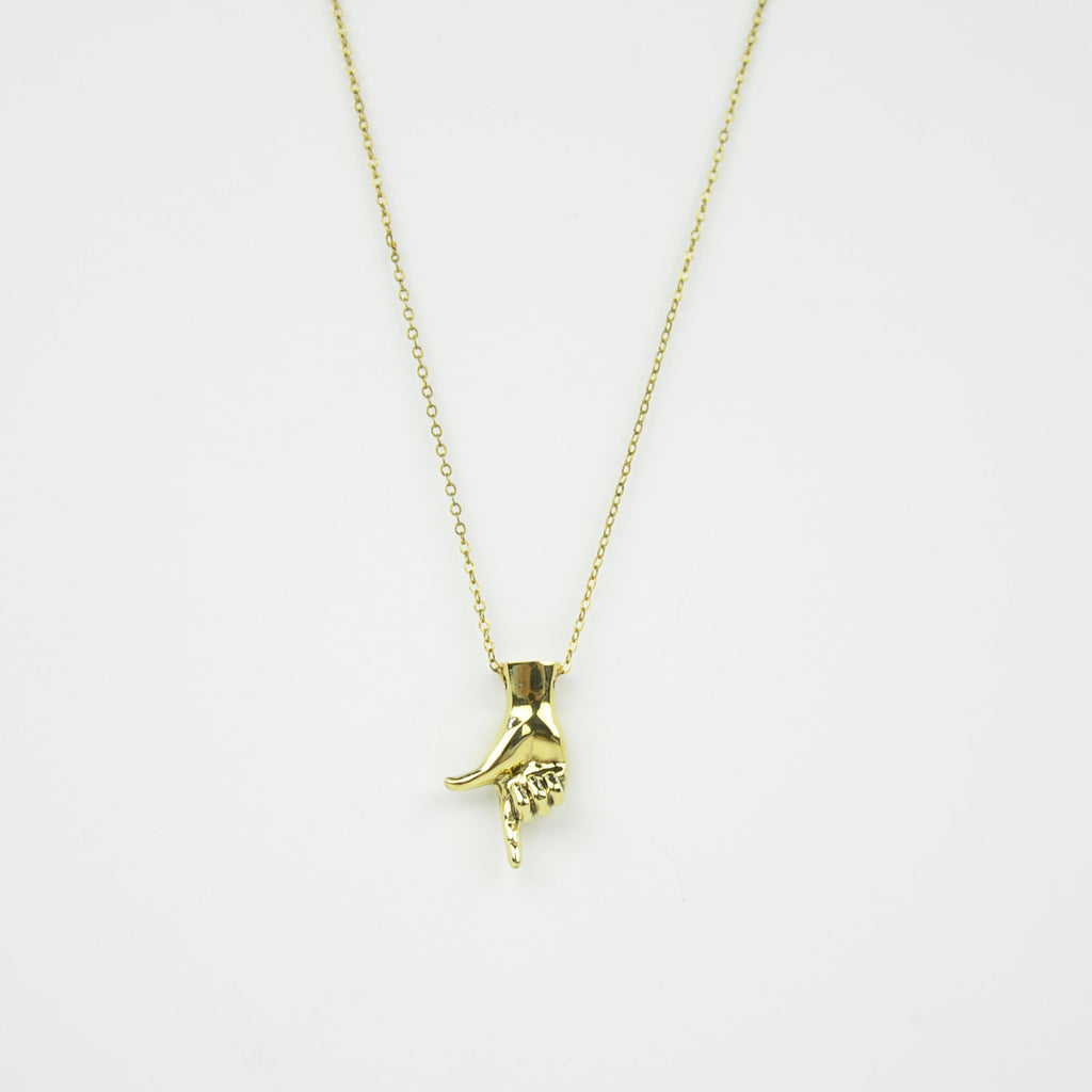 brass letter l sign language necklace