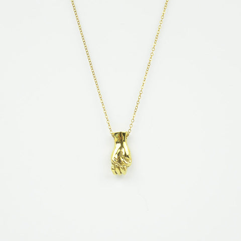 Brass Letter M Sign Language Necklace