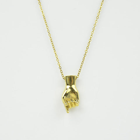 Brass Letter Q Sign Language Necklace