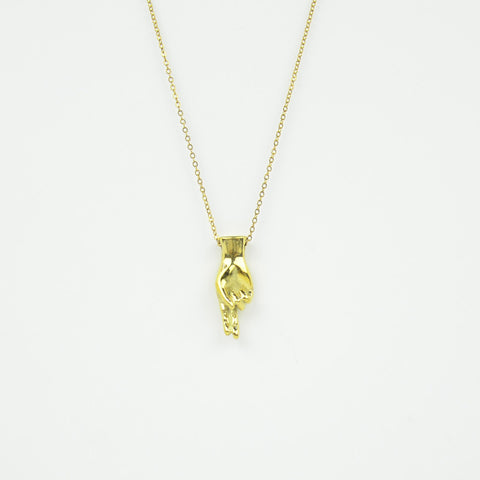 Brass Letter U Sign Language Necklace