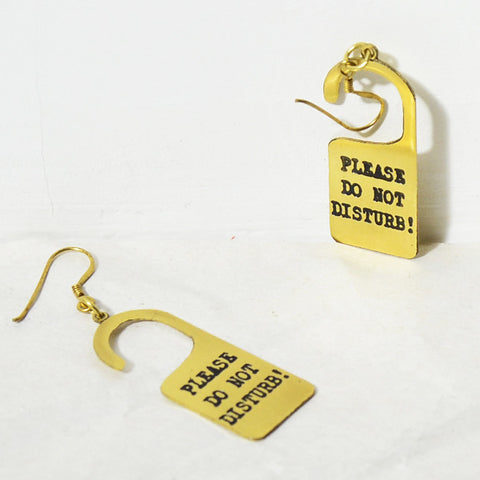 Do Not Disturb Brass Earrings