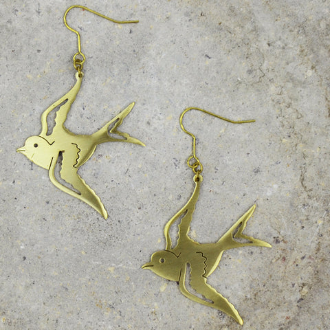 Sparrow Brass Earrings