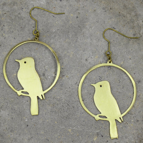 Bird Hoop Brass Earrings