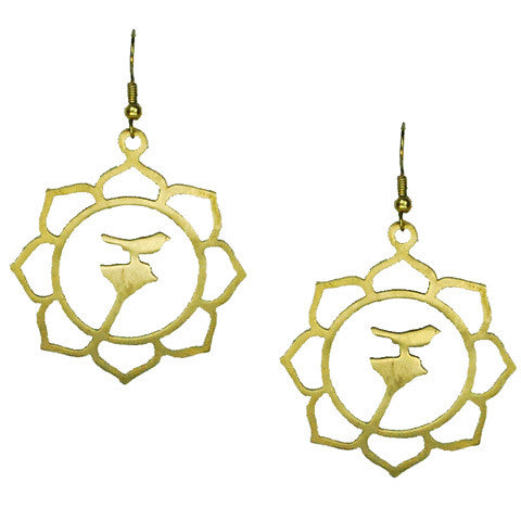 Bird In Sunflower Brass Earrings