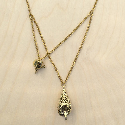 Small Birdnest Brass Necklace
