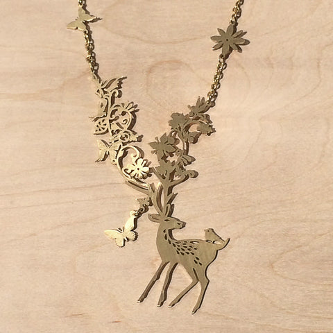 Bird on Deer Brass Necklace
