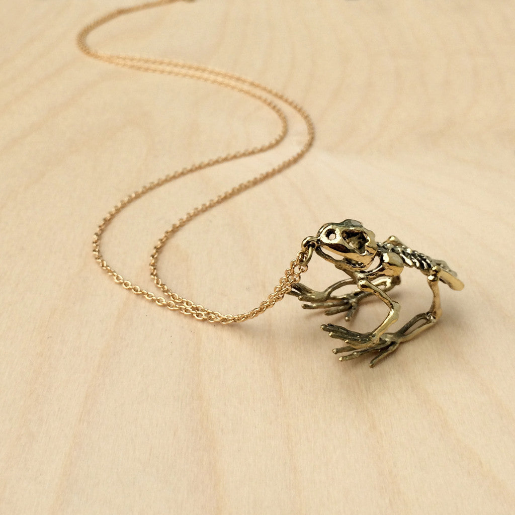 Frog Skeleton Brass Necklace