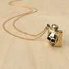 Skull Flask Brass Necklace