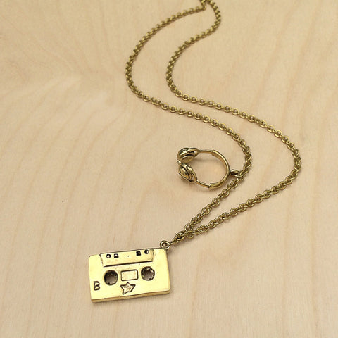 Headphones and Cassette Tape Brass Necklace