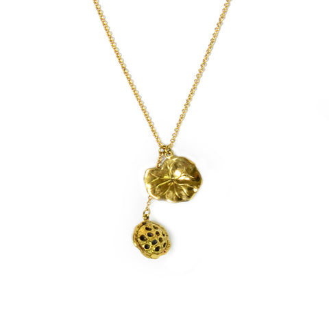 Lotus Pod Brass Necklace