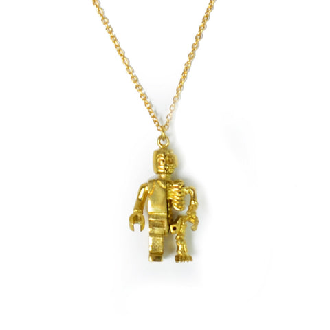Robo Skeleton Brass Necklace