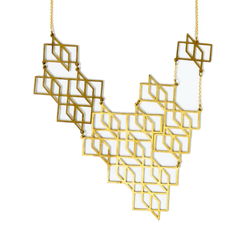 2D Geometric Brass Necklace