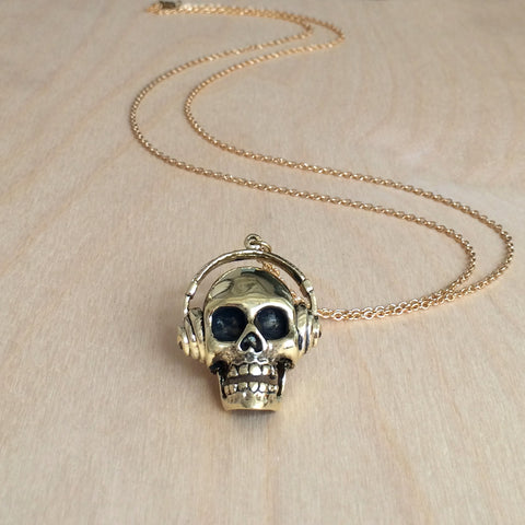 Skull with Headphones Brass Necklace