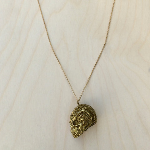 Fossilized Shell Brass Necklace