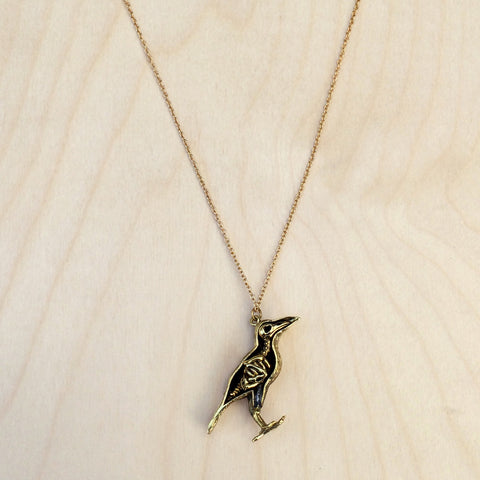 Peek-a-Boo Raven Skeleton Brass Necklace