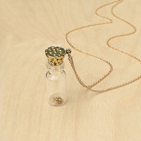 Ant in Glass Bottle Brass Necklace