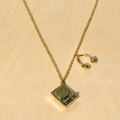Headphones and Turntable Brass Necklace