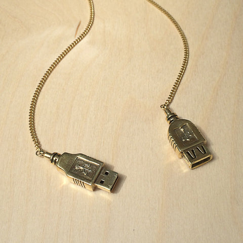 USB Lariat Brass Necklace
