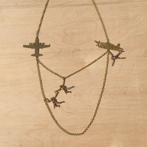 Parachuters Brass Necklace
