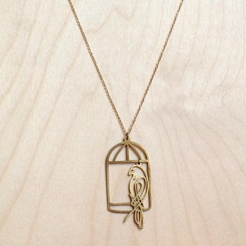 Parrot Birdcage Brass Necklace
