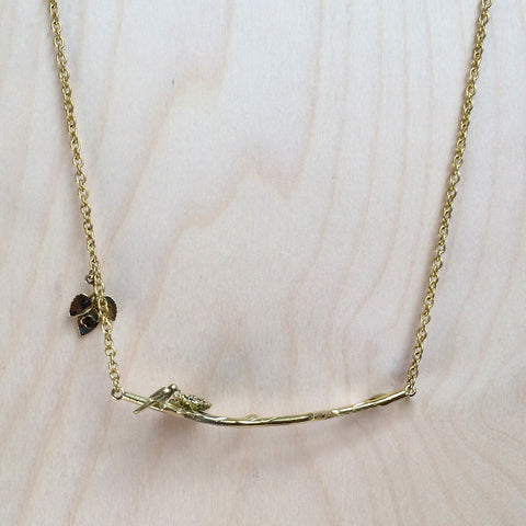 Bird on Branch Brass Necklace