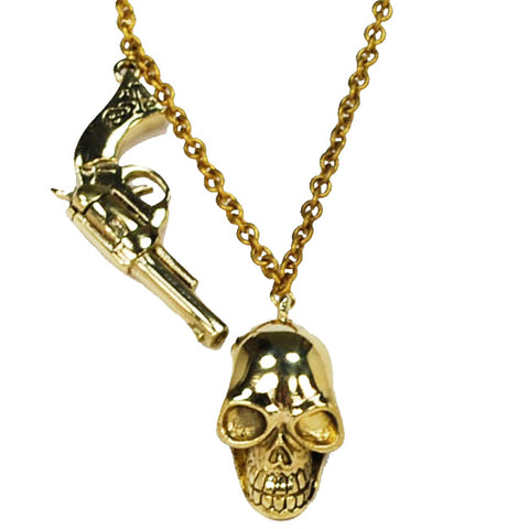 Guns and Skull Brass Necklace