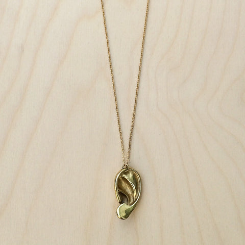 3D Ear Brass Necklace