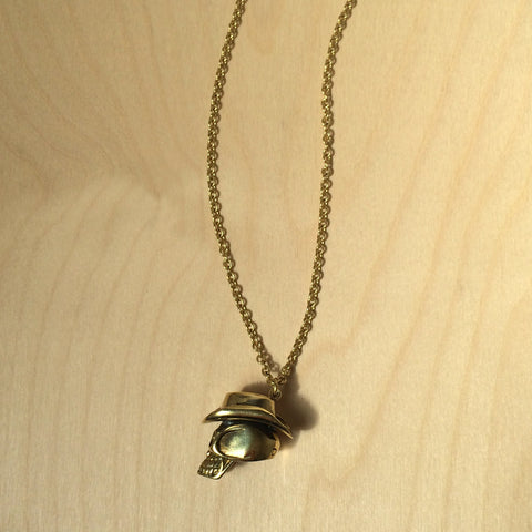 Skull with Hat Brass Necklace