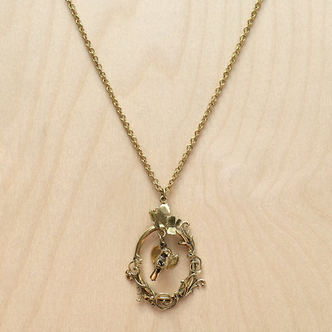 Bird in Oval Brass Necklace