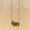 Rabbit Skeleton Brass Necklace