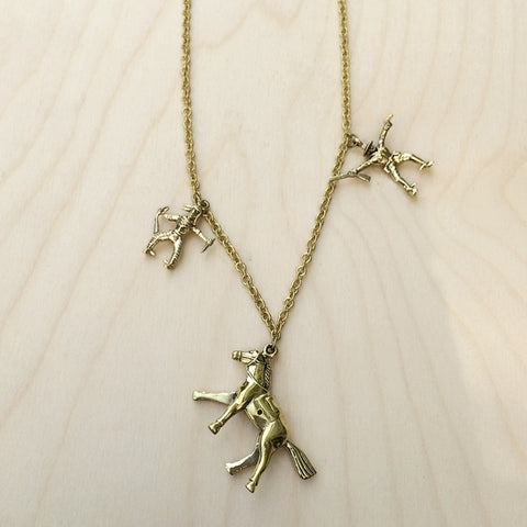 Cowboys and Indians Brass Necklace