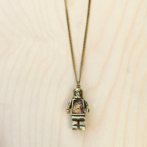 Large Robot Brass Necklace