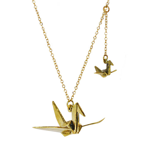 Paper Crane Brass Necklace