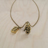 Toy Brick and Man Brass Necklace