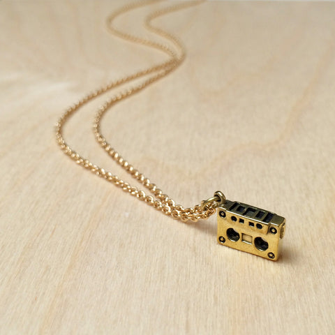 Mini Cassette Brass Necklace