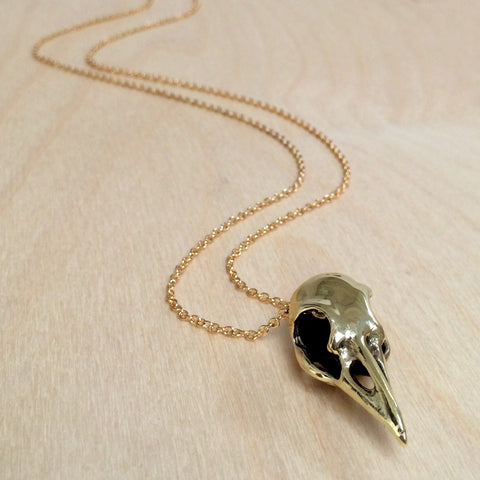 Raven Skull Brass Necklace