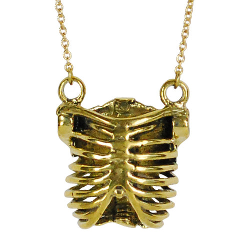 Ribcage Brass Necklace