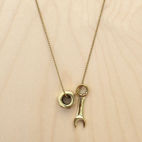 Nut And Wrench Brass Necklace