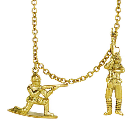 Toy Soldier Brass Necklace