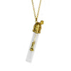 Rose In Vial Brass Necklace